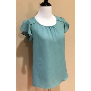 New ModCloth Sage Green Ruffle Sleeve Top